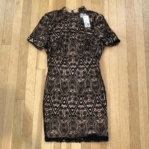 Brand new nude and black lace dress